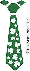 St. Patrick's Day irish tie with shamrocks