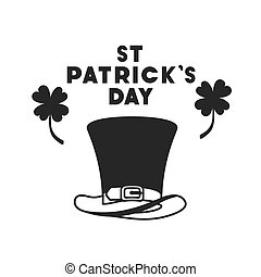 st patrick`s day label with clover and elf hat icons