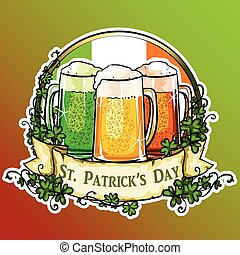 St. Patricks Day label with ribbon banner and sample text.