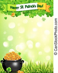 St. Patricks Day leaflet template with pot of gold and...