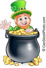 St Patricks Day Leprechaun and Pot of Gold - A cartoon...