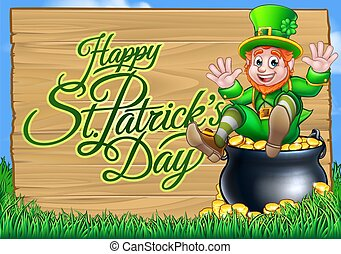 St Patricks Day Leprechaun and Pot of Gold Sign