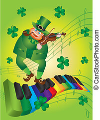 St Patricks Day Leprechaun Dancing on Piano Keyboard
