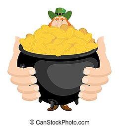 st., patrick's, day., leprechaun, e, pote, de, gold., magia, anão, e, caldeira, de, dourado, moedas., feriado nacional, em, ireland., tradicional, irlandês, festival