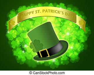 St Patricks Day Leprechaun Hat Banner Shamrock
