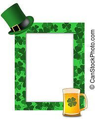 St Patricks Day Leprechaun Hat Beer Shamrock Frame