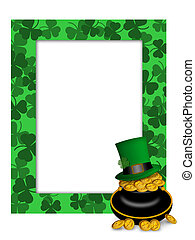 St Patricks Day Leprechaun Hat Pot of Gold Frame