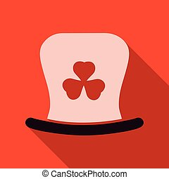 St. Patrick's Day leprechaun hat with four leaf clover. Vector cartoon illustration. Symbols of the Irish holiday.