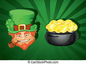 St. Patricks Day Leprechaun Head and Pot of gold