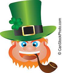 St Patricks Day Leprechaun Head Illustration