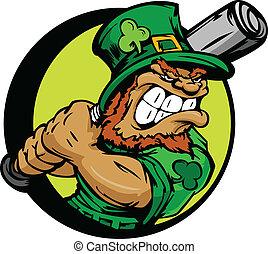 St. Patricks Day Leprechaun Holding - Baseball Cartoon...