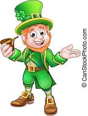 St Patricks Day Leprechaun Holding Pipe - Cartoon Leprechaun...