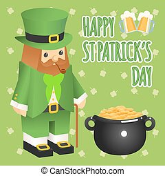 St. patricks day. Leprechaun in 3d flat style with pot of gold