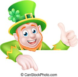 St Patricks Day Leprechaun Pointing - Leprechaun cartoon St...