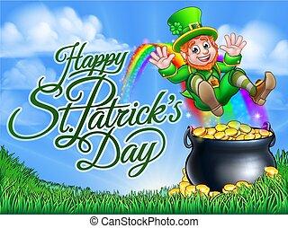 St Patricks Day Leprechaun Pot of Gold End Rainbow