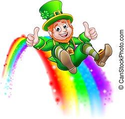 St Patricks Day Leprechaun Sliding on Rainbow - A cute St...