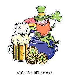 st patricks day leprechaun with beer