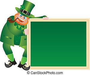 St Patricks Day Leprechaun with Chalkboard - St Patricks Day...