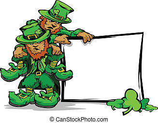 St. Patricks Day Leprechauns Holdin - Two Cartoon...