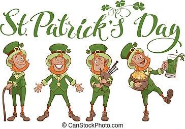 St. Patricks day lettering text. Set fun cartoon man