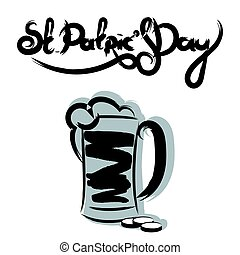 St Patrick's day lettering with a glass of beer