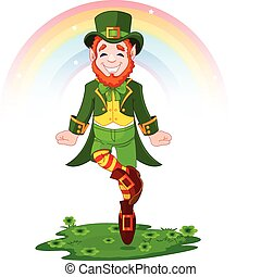 St. Patrick's Day Lucky Dancing Lep - Full length drawing of...