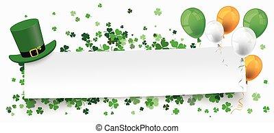 St Patricks Day Paper Banner Hat Shamrocks Balloons