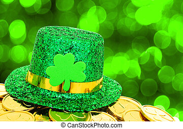 St Patricks Day party decor - St Patricks Day hat and gold...