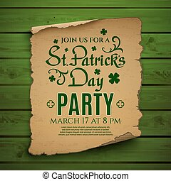 St. Patricks Day party Invitation poster. - St. Patricks Day...
