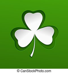 St Patricks day pattern with green clover leave. Vector.