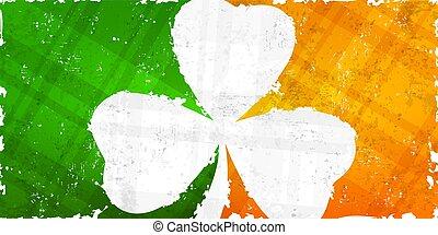 St Patricks day pattern with shamrock on flag background.
