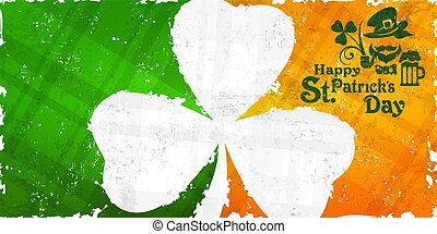 St Patricks day pattern with shamrock on flag background text.