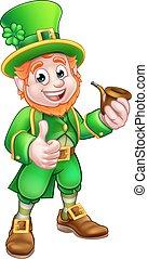 St Patricks Day Pipe Leprechaun - Cartoon Leprechaun St...