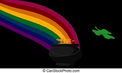 St. Patrick's Day - Pot of gold over the rainbow on a green...