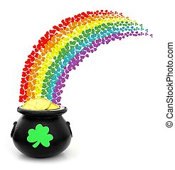 St Patricks Day pot of gold with colorful shamrock rainbow