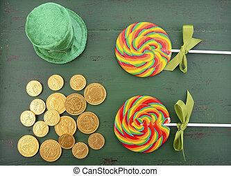 St Patricks Day Rainbow Lollipops, leprechaun hat and gold...