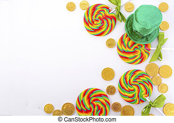 St Patricks Day Rainbow Lollipops with chocolate gold coins...