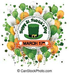 St Patricks Day Ribbon Emblem Balloons Cloverleafs