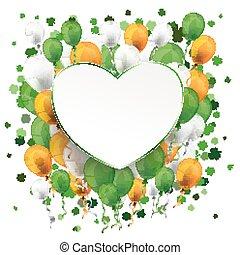 St Patricks Day Ribbon Heart Balloons Cloverleafs