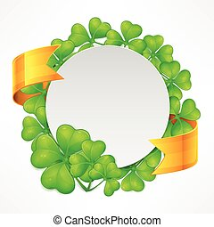 St. Patricks Day round tamplate - St. Patricks Day clover...