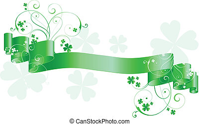 St patricks day scroll - Green scroll with St. Patricks day...