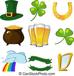 St. Patricks Day set: leprechaun hat, four-leaf clovers,...