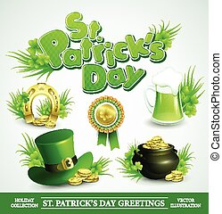 St. Patricks Day Set of vector icon