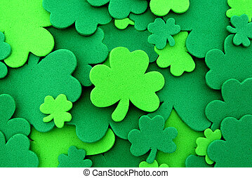 St Patrick's Day shamrock confetti background