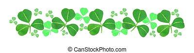 St Patricks Day shamrock border over white