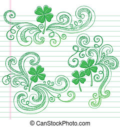 St Patricks Day Shamrock Doodles - St Patricks Day Four Leaf...