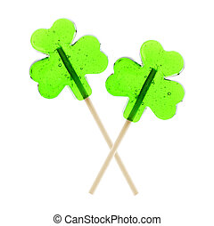 St Patricks Day shamrock lollipops