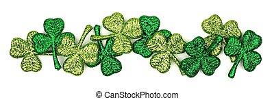 St Patricks Day shiny shamrocks border over white