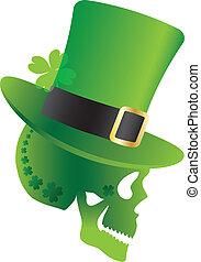St Patricks Day Skull with Leprechaun Hat Side Illustration
