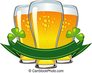 St Patricks Day - St. Patricks Day: beer, clover and banner....
